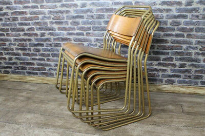 Stacking Chairs With Gold Frames Vintage Retro Stackable Seating School Chair
