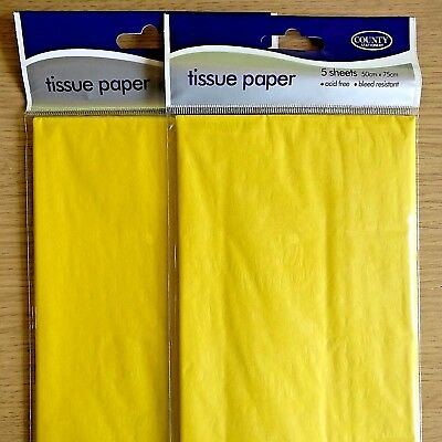 NEW 10 SHEETS - YELLOW TISSUE PAPER PACK - 75cm x 50cm - Art & Craft - YELLOW