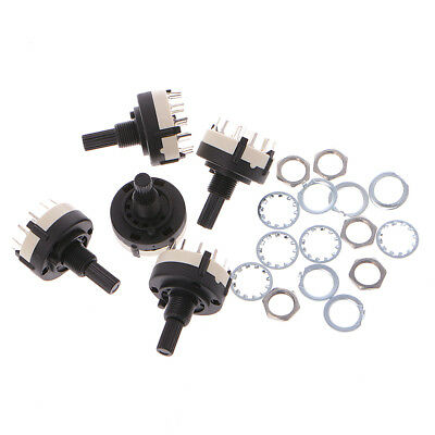 5 Pcs 6mm 4P3T 4 Pole 3 Position Shaft Diameter Band Selector Rotary Switch