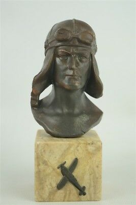 Nice Antique Vintage Small Cast Metal Lindbergh Bust Statue on Marble Aviator