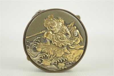 Antique Japanese Mixed Metals Small Pill/Snuff Box Monkey King Bronze & Copper