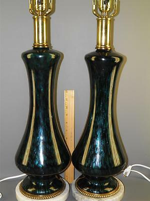 Italian Murano Midnight Blue Silver Fleck Marble Base Large Pair Table Lamps
