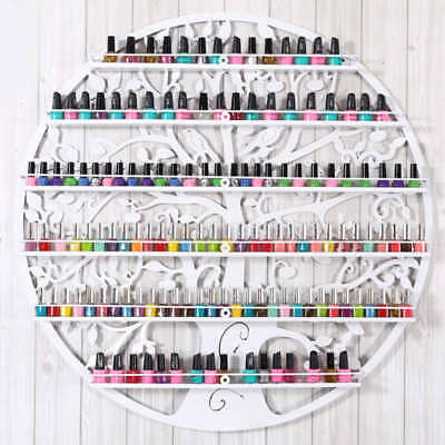 White Metal Wall Mounted Nail Polish Rack 6 Tiers Holder Display Cosmetic Shelf