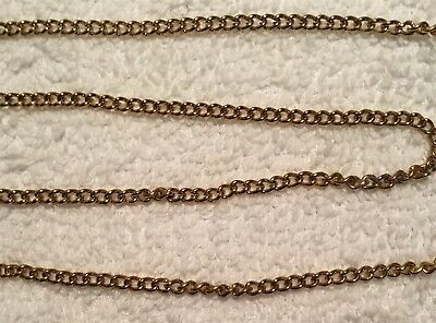 Vintage Lovely Soldered Link Curb Solid Brass Chain 7  Feet Divided Into 2 Pcs