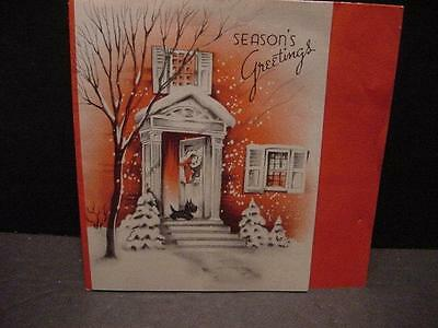 Vintage 1930s-40s CHRISTMAS Card: SCOTTISH TERRIER Watches by Open Front Door-#5