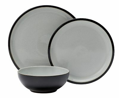 Denby 12 Piece Stoneware Dinner Dining Plate and Bowl Set - Black Pepper