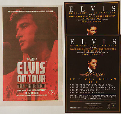 Elvis Presley - 2017 London O2 Elvis On Tour Advert + 2016 If I Can Dream Flyers