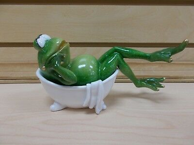 G61244 Frog In Bathtub Statue Decoration Figurine Gsc