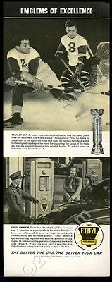 1941 Stanley Cup hockey trophy photo Ethyl gas vintage print ad