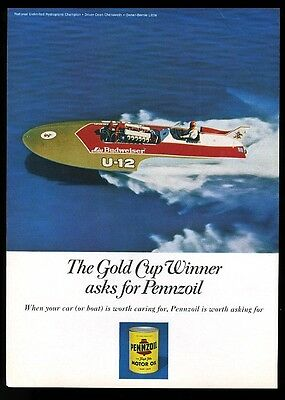 1971 Miss Budweiser beer hydroplane racing race boat photo Pennzoil print ad