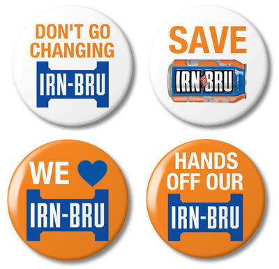 Save IRN BRU Stop the Change Button Badges -  25mm (1 inch) IRNBRU Pack of 4