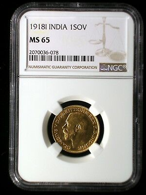 British India 1918 I Gold Sovereign *NGC MS-65* *Tops Pops* Highest Graded