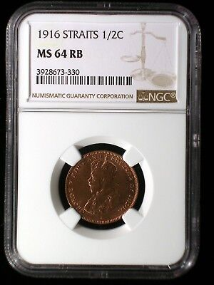 Straits Settlements 1916 1/2 Cent *NGC MS-64 RB* Malaysia Only 6 Graded Higher