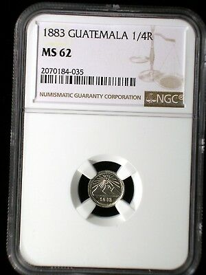 Guatemala 1883 1/4 Real *NGC MS-62* Undergraded Key Date Only 3 Graded Higher