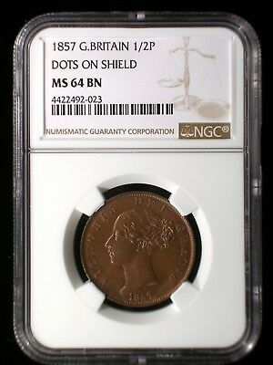 Great Britain 1857 1/2 Penny *NGC MS-64* Half Penny *Tops Pops* Finest Known