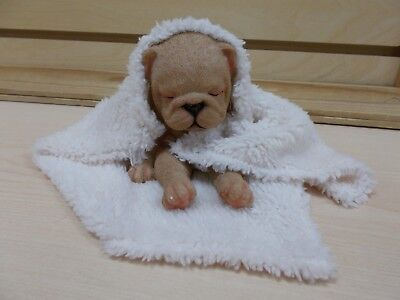G18127 Sleeping Puppy Wrapped In Blanket Figurine Statue