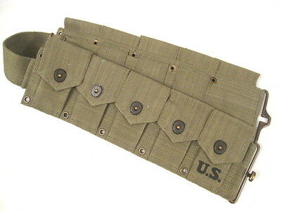 "WWII US Army  M1923 Cartridge Ammo Belt for M1 Garand Waist to 48"" 1943 - Repro"