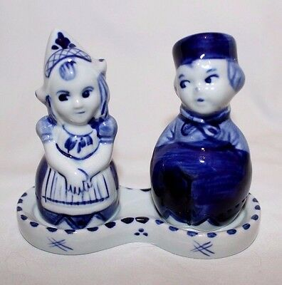 Delft Blue Hand Painted Boy and Girl Salt and Pepper Shakers with Stand