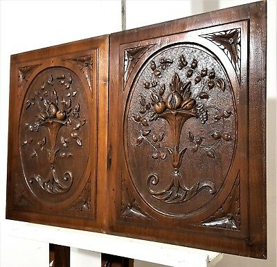 Hand Carved Wood Panel Pair Antique Fruit Bowl Architectural Salvage Panelling