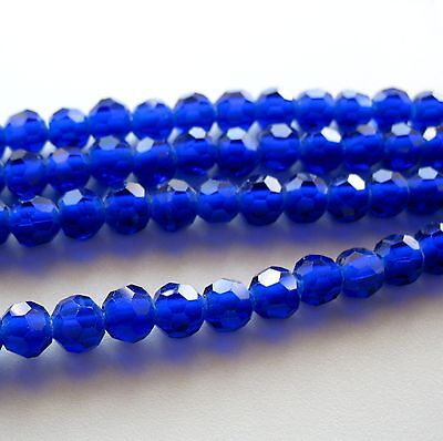 Royal Lapis Cobalt Blue Crystal 7.5-8mm Faceted Round 2mm Large Hole Beads 8""