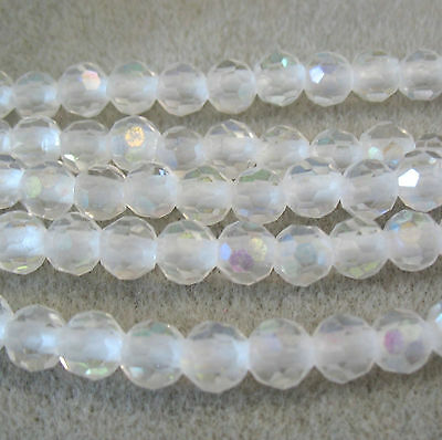 "AB Aurora Borealis Crystal 7.5-8mm Faceted Round 2mm Large Hole Beads 8"" Wraps"