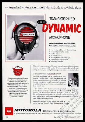 1956 Motorola transistor Movile Dynamic microphone photo vintage trade print ad