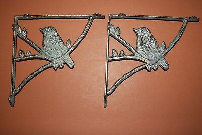"Bird Watcher Decor, Bird Design Shelf Brackets, 8 1/2"",Antique~Bronze~Look, B-44"