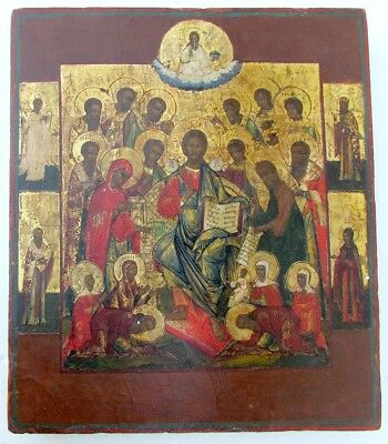 1800s RUSSIAN ANTIQUE ORTHODOX ICON of JESUS KING OF KINGS