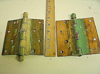 2 VINTAGE LARGE MATCHING BRASS DOOR HINGES 4.5x4.5