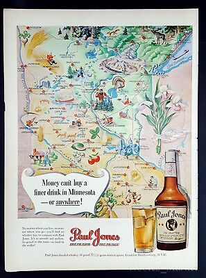 1950 Paul Jones Whiskey Minnesota Vintage Magazine Print Ad