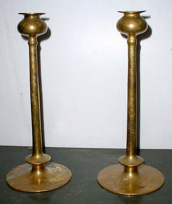 "Vintage 11 3/4"" Mission Arts & Crafts Heavy Brass Candle Holders Jarvie Style"