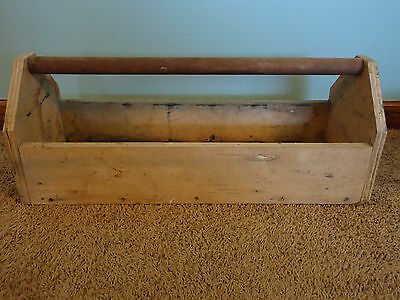 Vintage Wooden Carpenter Carrying Tool Box Solid Caddy Tote Garden Plant Holder