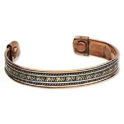 Solid Copper Patina Brass Steel Cuff Magnetic Healing Magnets Elephant Bracelet