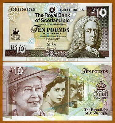 Scotland, 10 pounds, 6-6-2012, P-368, QEII, UNC > Commemorative Diamond Jubilee