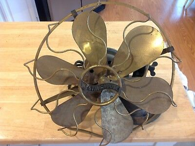 vintage Westinghouse electric fan 6 brass blade for parts or repair