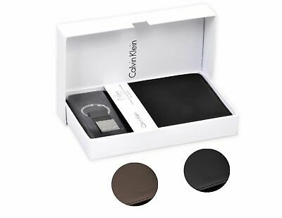 Calvin Klein Ck Men's Leather Key Fob Coin Wallet Keychain Gift Box Set 79349