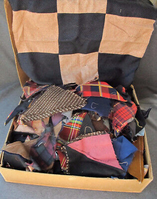 Old 14 x 13 x 4 inches box packed with Antique vintage quilt blocks unused