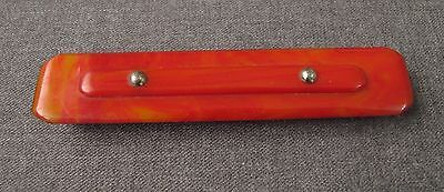 ANTIQUE ART DECO MACHINE AGE 1920s RED BAKELITE WITH CHROMED DOTS NAIL BUFFER