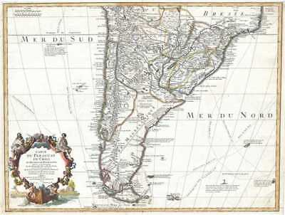 1703 Delisle Map of Southern South America (Paraguay, Chile, Argentina)