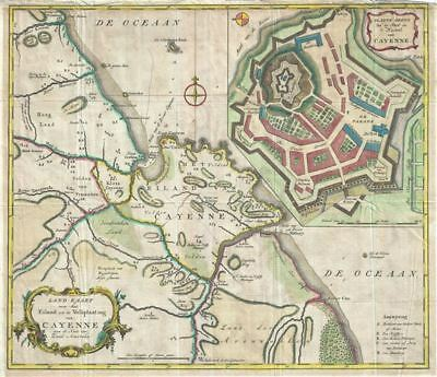 1760 Tirion Map of the Island of Cayenne, French Guyana