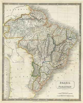 1835 Hall Map of Brazil, Uruguay, and Paraguay