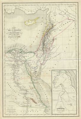 1850 Delamarche Map of Egypt and Palestine or Holy Land under Solomon