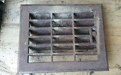 Vintage Cast Iron Floor Grate Heat Register- Stamped Steel Louvers
