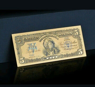 ☆AMAZING☆《1899 SILVER CERTIFICATE》 INDIAN CHIEF  $5 Rep.*Banknote wzz