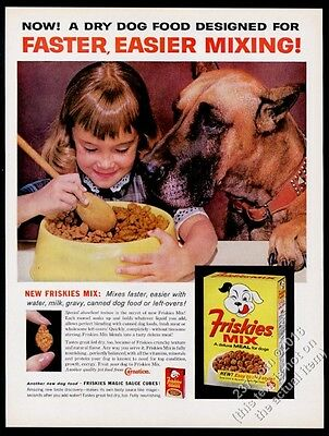 1961 Great Dane and girl photo Friskies dog food vintage print ad