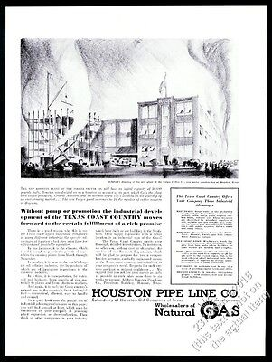 1938 Folger's Coffee plant Houston art Houston natural gas Pipe Line print ad