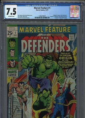 1971 Marvel Feature #1 Origin 1St App. Of The Defenders  Cgc 7.5 Off White Pages