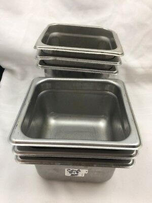 "Lot Of 6 Misc. Stainless Steel 18/8-Steam Table Pans 1/6 Size 4"" & 6""  3 Of Each"