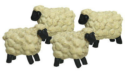 Lot of 4 Miniature Sheep Resin Blossom Bucket Country Primitive Fairy Garden