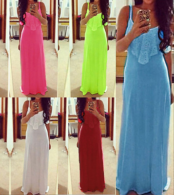 Womens Holiday Beach Party Lace Sleeveless Strappy Ladies Summer Long Maxi Dress